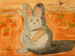 "Watercolour_""Bunny & Carrots"""